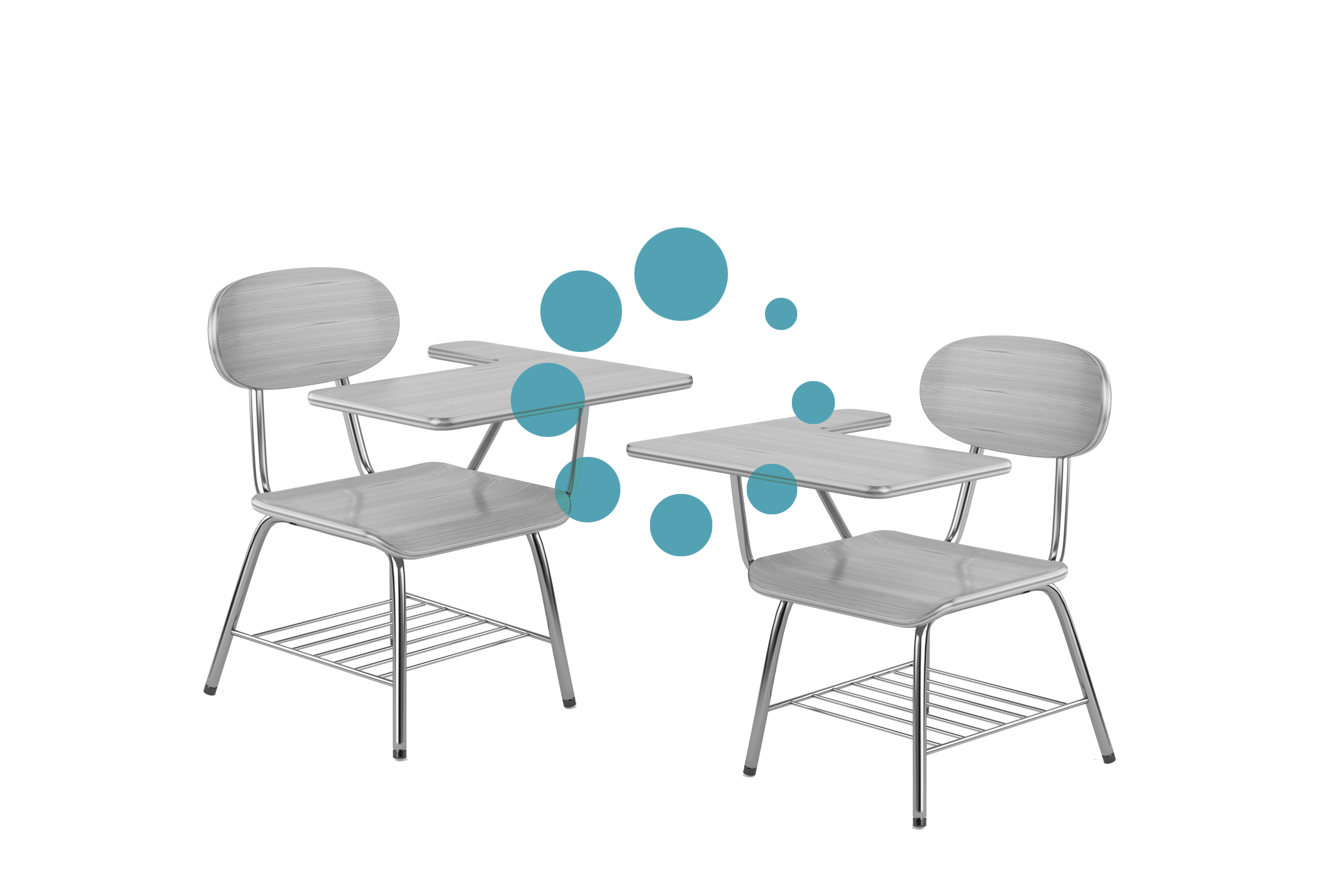 two empty desks with bubbles around them